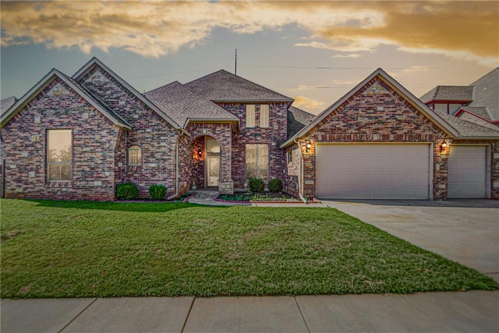 This fantastic home sits in the perfect Edmond neighborhood. Step into the impressive entryway with tall ceilings and gorgeous wood floors, this space features the perfect formal dining area. The wood flooring carries through to the living room which features a stylish corner fireplace and opens up to the expansive gourmet kitchen. Stained cabinetry, granite counters, and stainless steel appliances complete this dreamy kitchen. Inside the master suite you will fall in love with the double vanities, oversized tub, and walk-in closet. Other features you will find within this floor plan include an upstairs great room, a media room, and even a butlers pantry. The backyard offers a wrap-around covered patio- the ideal spot for relaxing outside. Come see why this house is the full package!