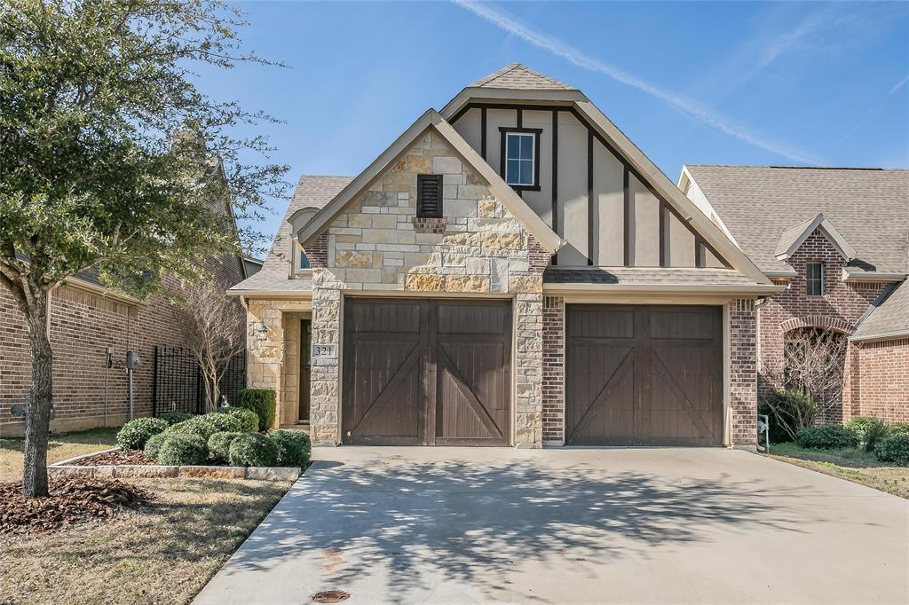 Amazing find in the sought after gated community of The Villas of Aledo. Stunning 4 BR, 2.5 BA floorplan has it all including an open concept gourmet kitchen, dining room & living space, a first level master suite, an oversized utility, AND a mudroom downstairs. The granite-covered kitchen has a large island, breakfast bar, ss appliances w gas cooktop & large pantry. The beautiful hardwood floors make the stone fp w gas starter stand out even more! Upstairs is complete w a large game room, a home office-study with built-ins & granite, full bath, 3 bedrooms & a balcony! That's not all - the backyard space has artificial turf, a covered porch AND a pergola for relaxing.  Front yard maintenance included in HOA!