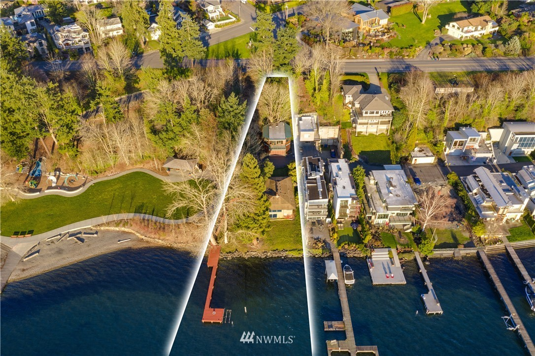 One of the finest waterfront properties in desirable West of Market community on the shores of Lake Washington, an exclusive opportunity to create your own resort in the heart of Kirkland and live the waterfront lifestyle you've imagined. The shy acre lot nestled at the end of a private street opens to 92' of west-facing low-bank waterfront with stone bulkhead and 84' dock. The unique property includes the main house and a separate apartment. Luxury and lakefront living are awaiting you. Soak in the expansive views of the Olympic Mountains, Bellevue & Seattle skylines. Enjoy breathtaking sunsets. Vacation year round. Watch the Christmas ships & the 4th of July fireworks from your own dock. Walk to restaurants and shops. Excellent schools.