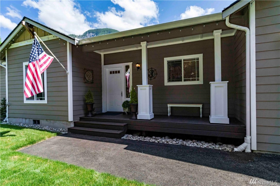 Incredible opportunity to own 2018 rambler at the base of Mt Si! No HOA! Great room concept with stacked stone fireplace, open living with vaulted ceilings and outdoor patio and deck - ready made for entertaining.  4 bed septic - easily convert office to 4th bedroom. Covered patio is insulated/wired.  Plenty of parking for guests, or explore vacation rental possibilities.  Great location just 5 minutes from downtown Snoqualmie, easy commute to North Bend and Bellevue.  Video links available