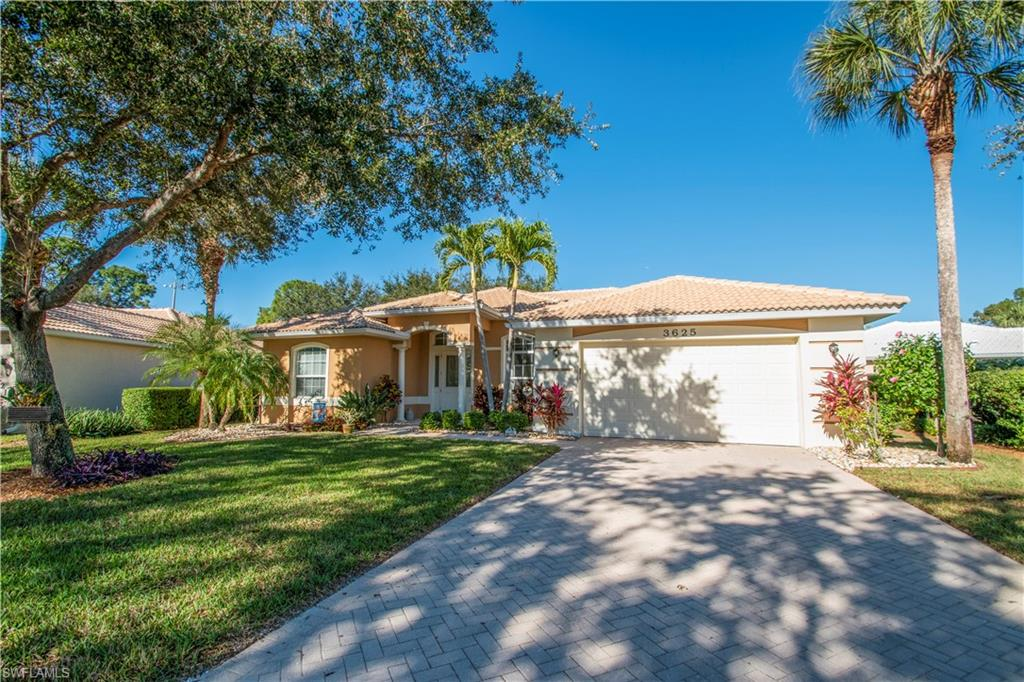 Outstanding home on a very large unique lot. Covered front entrance, redesigned  front door with sliding retractable screen opens to spectacular foyer.  You are greeted by cathedral ceiling in living room, high coffered ceiling in dining area and sliders to lanai.  Kitchen has newer appliances, center island, breakfast bar, and spacious sunny family room. 3- bedrooms are a Split bedroom floor plan offers privacy for guests.  Master bedroom with coffered ceiling, 2- large closets (one walk in), ensuite bath featuring soaking tub, new remodeled oversized shower,2 sinks and private commode. Ample sized guest bedrooms. Dine on the sunny screened in lanai which overlooks one of the largest yards with mature trees.  This back yard is perfect for children, pets and entertaining/grilling.  Garage and Laundry room are convenient off kitchen. Full size hurricane code windows let the Florida sunshine in. Forest Park is a gated community with wide range of amenities included with low HOA fees. Community pool, exercise facility and active community center all located within walking distance to this lovely home and near front gated entrance. Minutes to shops, restaurants, I75, and Gulf beaches.