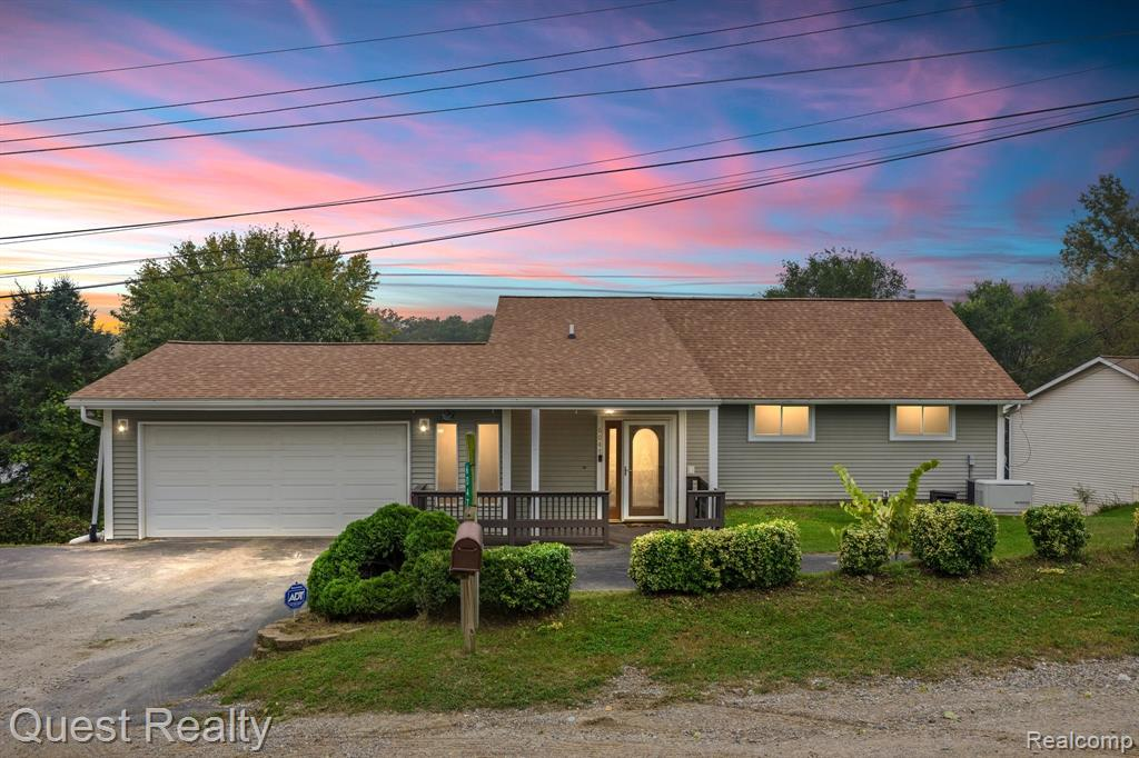 Fantastic updated ranch w/ full finished walkout, 2 car  garage AND 2.5 detached 2nd garage & Clarkston Schools. ! Up north feeling on small private lake but close to I75 & downtown Clarkston. Updates inc-  kitchen remodel 2018 w/new cabs, SS apps & granite. New laminate thru-out 1st floor 2018. Huge full bath w/jetted tub 2018. Fin lower level w/ full kitchen & 2nd full bath 2018. Plenty of room to also add a 4th bedroom in lower level.  Newer windows, furnace. Roof 2017. High end water softener/iron filter 2018, 2020 new water heater & well bladder tank. Oversized 2 tier deck to enjoy beautiful sunsets. Quiet sub w/playpark at corner & close to Shephard's Hollow golf course. Bsmt has 23x24 unfin area under garage for storage, home gym area & more. Whole house generator inc, ADT alarm on doors/windows.  Qualifies for RD loan!  Plenty of room to move laundry to upstairs entry area as well. Bonus- NO HOA to deal with!