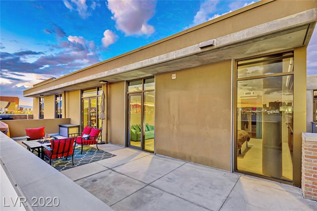 Have a look at this pristine 2-bedroom condo overlooking the Las Vegas Strip and parts of Downtown Las Vegas! The private, top floor terrace is over 520SqFt, runs the entire width of the unit and boasts some of the best South and East facing views available. The primary bedroom has floor to ceiling windows with stunning views of Sunrise Mountain and the Strat. The Primary bathroom has double sinks, a separate shower and tub and a huge walk-in closet. The spacious kitchen features more than enough room and cabinet space for those who love cooking as well as counter seating for informal meals or just a place for casual conversation. The living room also has floor to ceiling windows, again showcasing the Strip views. JUHL features a Resort-Style Pool and Spa with daybeds and cabanas, lounge chairs, a fire pit and grills. There is also a 2-story fitness center, private meeting room, onsite dry-cleaning, pet walk, outdoor theater area and Wine deck on the 10th floor with Strip views.