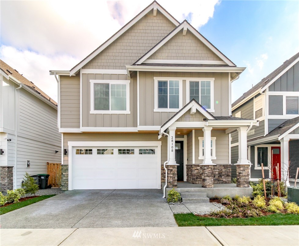 Maple Valley's Desirable Edinburgh Community- This 2020 Built Upgraded Home Backs to Greenbelt! You'll fall in love with the modern finishes, bright & airy spaces & open great room concept- built by Westcott homes. Main floor offers large great room & chef's kitchen with quality white cabinetry, quartz counters & large slider out to the covered deck w/heater overlooks the protected greenspace. Spa-like Master en-suite upstairs features 5 piece bath & sizable walk-in closet. Fully finished basement offers rec room w/built-in beverage station & dual beverage fridges! 4th bedroom & full bath downstairs offering mother-in-law ste optionality or home office. Walk to parks, trail system, shopping & more.