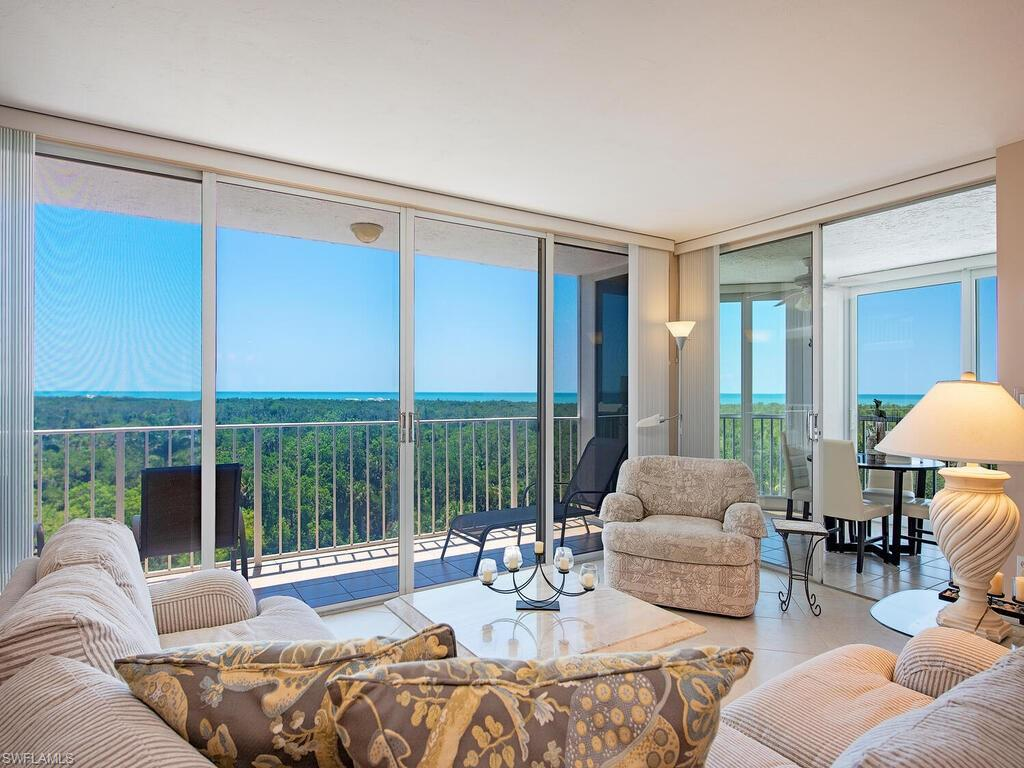 C2266 - Stunning, panoramic, Gulf and sunset views from this 2 bedroom + den, 2 full bath unit, with an open floor plan. The spacious master suite has a separate vanity area, and walk-in-closet. The guest bedroom can be closed off with the pocket door, making it ensuite and private for guests. Tile throughout all living areas. The glassed in lanai with impact sliders extends the living space and brings the outdoors in. A perfect place to enjoy and entertain. HVAC and water heater 2019. Recent St Lucia improvements include driveway pavers, new roofs saltwater pool, renovated social room, lush landscaping and 2 Guest Suites. Conveniently located next to the Commons tram stop for quick and easy beach access. All Pelican Bay owners enjoy 2 beach restaurants, 18 tennis courts and fitness center. Artis Naples, Waterside Shops and Mercato are just minutes away.