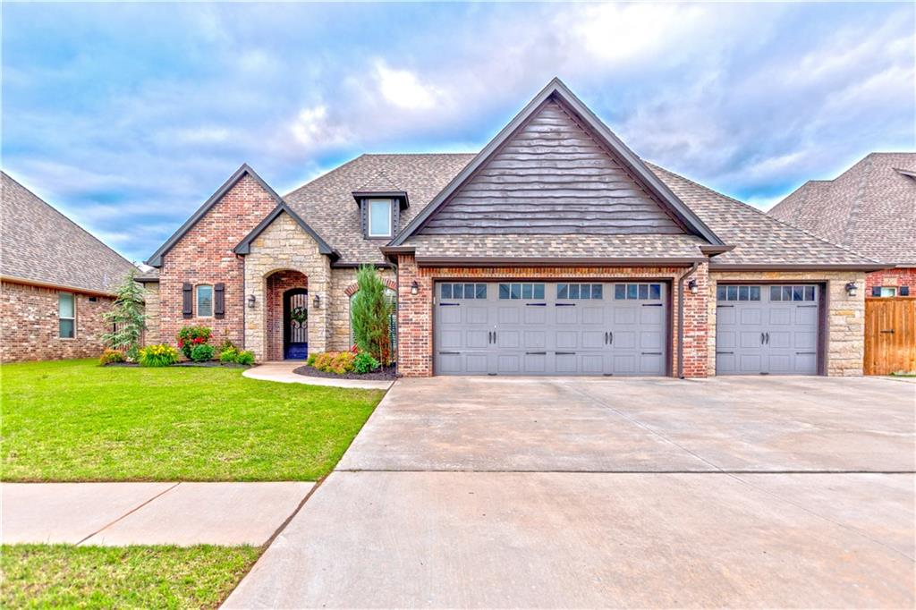Located in the highly sought after Moore School District, this custom built beauty offers 4 bedrooms, each with a full bathroom, plus a powder bath, bonus room, office, 4 car tandem garage. Just shy of 3100 square feet, light fills every corner showcasing the hardwood floors, custom cabinetry & tile. The large windows allows for the great view of the backyard. The living room holds a high-end wood-burning fireplace with a blower. The open concept kitchen holds a massive kitchen island, high-end appliances & pantry. Granite counters throughout. The main suite includes a breath taking bathroom and huge closet. Plus there are so many useful closets and storage spaces throughout the house. The 4 car tandem garage holds a 10 person shelter. 2 bedrooms and bonus are located upstairs along with the attic walkout.Tankless water heater. This home has amazing design all while keeping a very comfortable open feel. Community holds a pool, clubhouse, and stocked ponds for resident fishing.
