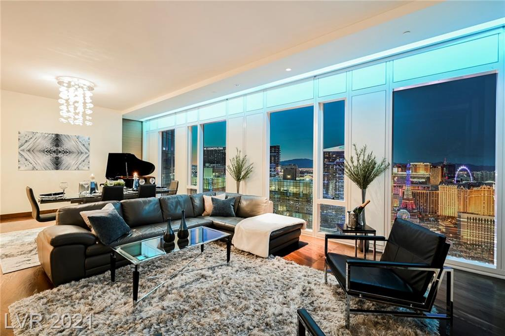 One of Six, Extremely Rare Penthouse Residences in World-Renowned Waldorf Astoria. A truly unique floor-plan without any pillars in the living areas or bedrooms. Featuring Dual Primary Suites, Den/Office area currently furnished as second living room, High-End Appliances and  Custom Finishes throughout. Ideally situated in the most desired building in Las Vegas, 41 Floors above The Strip, with every room offering the Premium Northern Strip/City Views (see photos). Residence is offered Fully-Furnished, including custom artwork by local artist.