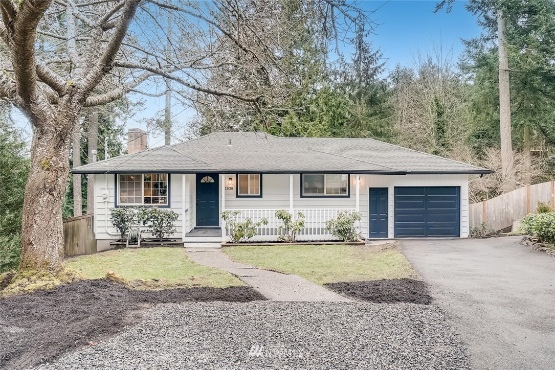 Spacious move-in-ready daylight rambler in the Shoreline School District! Square footage is more than meets the eye from the curb of this cul-de-sac nestled 1954 gem. Vaulted living room ceiling, hardwoods, new paint, and tree top views make this home a must see. Master suite on-main w/walk-in closet and attached bath. Large basement has entertainment area, 2 bedrooms, office, laundry and 3/4 bath. Enjoy huge deck overlooking the generous backyard. Partially fenced lot is complete with sport court, shed, and garden space. Bike or commuter friendly location. Home is adjacent to the Interurban Trail, Aurora Village, & Lake Ballinger. Central to I-5, Ballinger Way and 99. Welcome home!