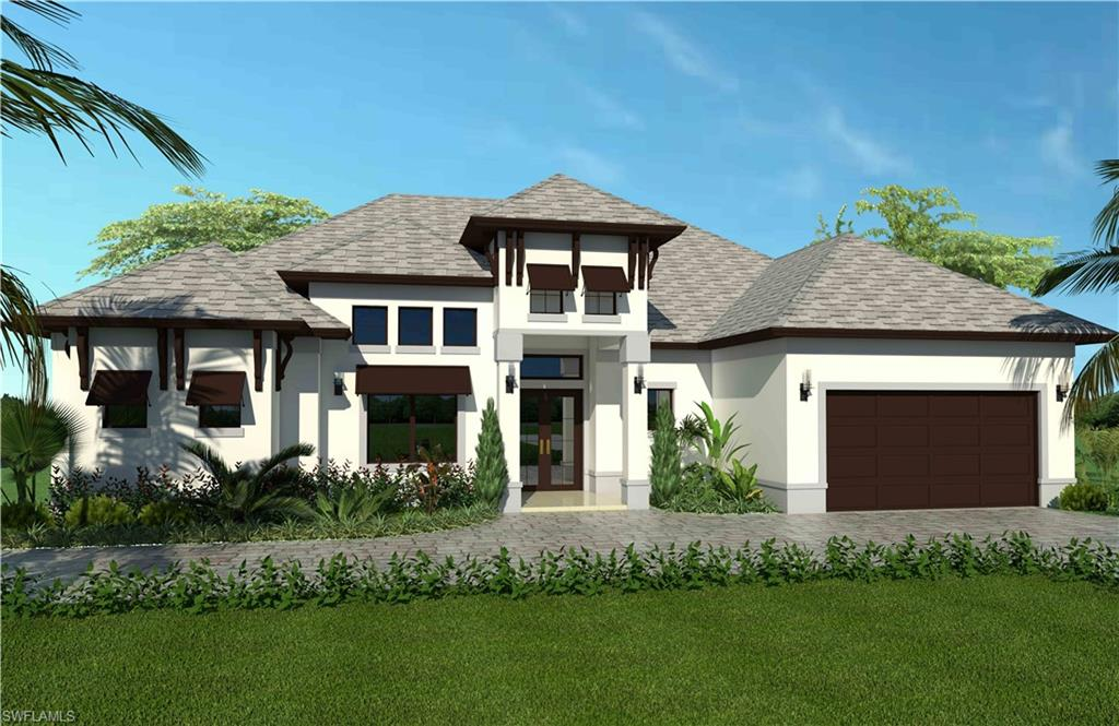 """LUXURY MEETS ESTATE LIVING! NEW CONSTRUCTION - ETA COMPLETION DATE: APRIL 2022. This beautiful 3+ Den, 3 bath, 2394 Sq. Ft. home on 100% UPLANDS features many upgrades; 42"""" white WOOD kitchen cabinets, QUARTZ countertops in kitchen & bathrooms, extra large kitchen island, 24x24 PORCELAIN TILE throughout, stainless steel appliances, French door refrigerator, 30"""" electrical cooktop, combination wall oven and microwave, laundry in residence, SCREENED PAVED LANAI, PAVED ENTRYWAY, pool bath, 2 car garage, IMPACT windows, 5 1/4"""" baseboards, elevated tray ceilings, sprinkler system with automatic timer and much more! Spacious Master Bedroom with walk in closets and double sinks. Open floor plan for entertaining, with plenty of room for pool and guesthouse! You CUSTOMIZE your DREAM HOME and CHOOSE FROM A SELECTION OF BEAUTIFUL COLORS AND FINISHES. NEW shopping center coming soon to Everglades and Golden Gate Blvd!"""