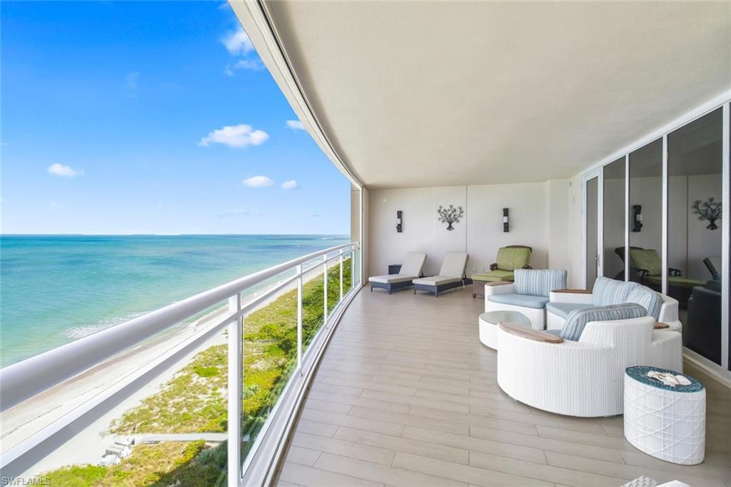 Experience stunning direct private views of the Gulf of Mexico from this rarely available Moraya Bay 10th floor condominium located on Vanderbilt Beach. This 3 bedroom 3 .5 bath condo is outfitted with a traditional gourmet kitchen and butler's kitchen styled with custom wood cabinetry, granite countertops, stainless steel appliances, double ovens, 2 refrigerators, food warmer, wine cooler and natural gas cooktop. Current layout provides openness from the breakfast bar to the formal dining to a spacious living room all offering wide sky views and access to the front balcony for indoor/outdoor entertaining. This pet friendly building has no restrictions on breed or size. Moraya Bay offers First Class Amenities including restaurant, fitness center, 2 pools with poolside resort services from the club, full-time security and concierge services making your life on the beach even more opulent. You'll enjoy private elevator access into the marble foyer of the unit. In addition, this unit is one of the few in the building with 2 deeded/assigned parking spaces. Moraya Bay's location, amenities and concierge services assure a luxurious lifestyle in this beachfront property.