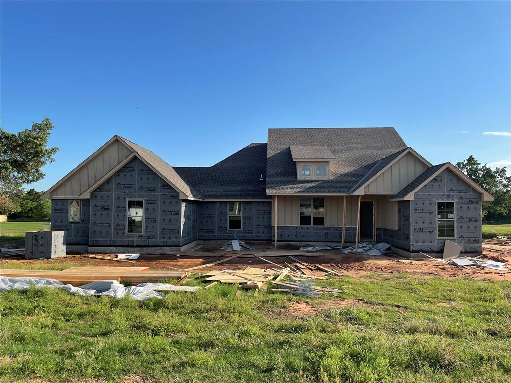 Wonderful home under construction on 1 acre lot in North Edmond. Approx. 2,450 square feet, 4 bedrooms, 3 bathrooms, separate study & game room all on one floor. 3-car side-entry garage. Living features vaulted cathedral ceiling, fireplace & large windows looking over back acreage. Kitchen has island/bar, walk-in pantry, quartz counters & stainless appliances. Spacious covered patio in back.