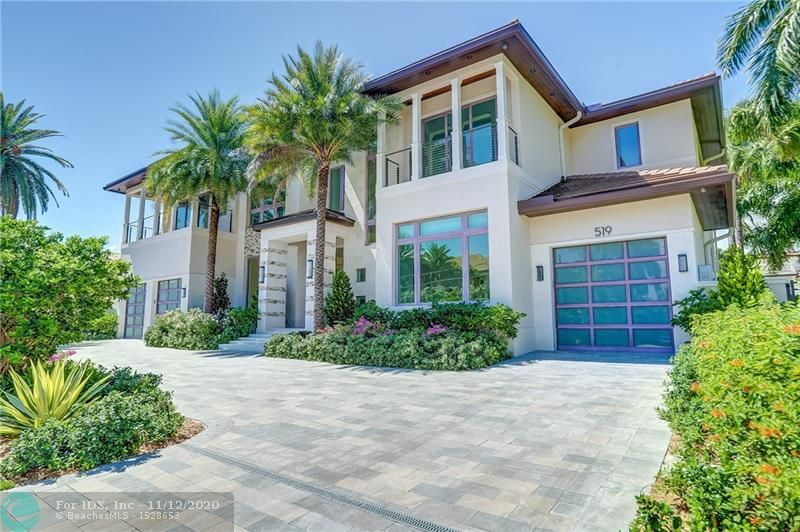 Located within the prestigious and exclusive neighborhood of Las Olas Isles, a sophisticated masterpiece by renowned architect Robert Stoft boasts 100' feet of water frontage with no fixed bridges. This one of a kind, new construction home designed as a tropical oasis with no detail or expense spared. It's open concept design, luxurious finishes & immaculate attention to detail throughout exemplifies the ultimate South Florida lifestyle. The home features 6500 square feet of living space with every luxury and convenience factor carefully thought out from a quartz crystal staircase inlay to the elevator, 3 car garage, & crescent home system. Welcome to a truly spectacular estate showing casing a flawless transitional design style which honors the exquisite quality of  Ft. Lauderdale luxury.