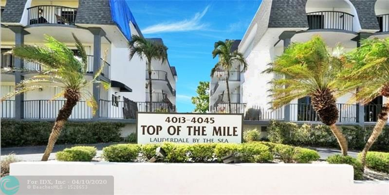 Charming Condo Sale just steps away from the beach in Top of the Mile Condo, a 3-story building facing the East winds Fort Lauderdale has to offer. Washer dryer inside the unit. 1 Full Bedroom, 1 Full bathroom, and one 1/2 bath for entertainment.