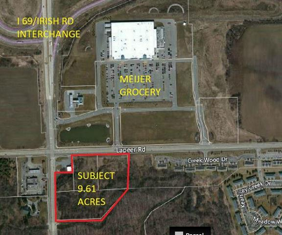 "9.61 ACRES OF COMMERCIAL DEVELOPMENT LAND, DIRECTLY ACROSS FROM MEIJER ENTRANCE AND THE NEW FINANCIAL PLUS BUILDING. Brand new Taco bell went up, near the site as well as the ""Davison Shoppe's, Shopping Center"".  HUGE Upside, Menards is asking $877,000+ for 2 acres nearby, DONT MISS YOUR CHANCE!  538 FRONTAGE ON LAPEER ROAD AND 466 FT OF FRONTAGE ON IRISH ROAD"