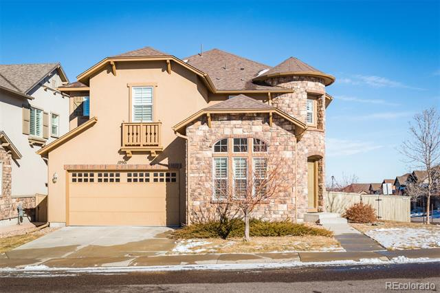 Open Sunday 1pm to 3pm!  Stunning home by Shea in The Hearth neighborhood of Highlands Ranch.  Short walk to the Southridge Rec Center and Paintbrush Park.  Turret style entry, main floor study/bedroom suite, gleaming hardwood floors in the formal dining room, family room and gourmet kitchen.  Upstairs you will find a spacious master suite with 5-piece bathroom and a unique loft area above the master for reading or television.  A laundry room is on the 2nd floor for added convenience along with 2 kids bedrooms and a guest suite.  Other notable features include custom window treatments, plantation shutters, large deck with views of open space, stainless appliances, and granite counters.  This home is available for quick possession.