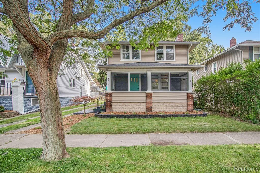 NEW Price! OPEN HOUSES: Friday 8/20 4-7PM, Saturday 8/21 2-5PM & Sunday 8/22 2-5PM.Beautiful 2 story home that is just a stones throw away from downtown Ferndale. This home features hardwood floors throughout, except for high end tile in kitchen and upscale tile in bath. New roof in Nov 2020 with 50 year transferable warranty. SS appliances in kitchen as well as high end quartz countertops with updated washer and dryer in basement. All 3 bedrooms have closets for plenty of storage. Lots of charm and character in this historic home that also features stained glass windows and original wood burning fireplace. Newly renovated screened-in front porch and back deck are accompanied by a large fully fenced in yard as well as a large utility shed with running electric. Basement has lots of additional storage with good condition furnace/AC and water heater. All buyers and Buyers agent to verify all MLS documentation for accuracy.