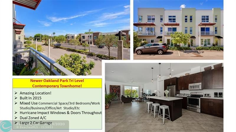 Fantastic Find!! Newer Oakland Park Tri Level Contemporary Townhome Built In 2015. 1st Level Provides Optional Mixed Uses Such As Commercial Space/3rd Bedroom/Work Studio/Business/Office/Art Studio/Etc. It's Equipped With It's Own ½ Bath, Frosted Glass Entry Door & Access to The Large 2 Car Garage. Each Floor Has An Amazing Modern Open Concept & Stunning Upgrades, Including Gourmet Kitchen With Island, All Quartz Counters, Rich Wood Cabinets, Stainless Steel Appliances & Private Balcony. Gorgeous High Ceilings Accentuate The Open Spaces Of The Living & Dining Areas. 3rd Floor Master Suite Has 2-Walk-In Closets & Updated Bathroom With Dual Sinks & Separate Bath/Shower. 2nd Bedroom Has It's Own Private Bathroom. All Windows & Doors Are Hurricane Impact. Dual Zone A/C & New Smoke Alarm System