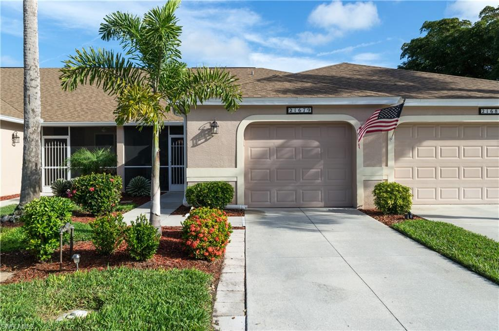 Rarely Available & Highly Desired -Stoneybrook Villa with extra parking & pool behind unit. Move in Ready - Live the resort lifestyle in this gated golf course community (Golf Membership Optional ).    Stunning  2 bedroom / 2 bath villa with ATTACHED GARAGE, offering a spacious Great Room floor plan with diagonal tile throughout main area, breakfast nook (w/ bay window) & bar + separate dining room, den or office. Large lanai in the front of the unit off the master bedroom & extended lanai in the rear offer the ability to watch the sunrise and sunset from your stunning new home. Low Fees include, basic cable, landscaping, pest control & irrigation. Recently updated & Newer appliances. Minutes to malls, shopping, entertainment & dining. Southwest Florida International Airport is only minutes away. Stoneybrook offers something for every one. Recreation facilities, public golf course, community center with a pool & spa, fitness center, play area, courts for basketball, tennis & bocce, a roller hockey rink, walking, biking trails and lighted athletic field. Social groups, cards, luncheons.. One of Estero's best kept secrets are the fabulous amenities & low fees.