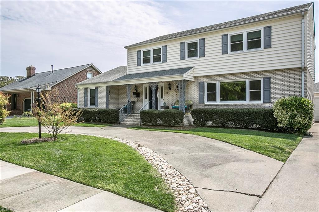 Incredibly maintained five bedrooms three-bathroom waterfront home offering 3,206 square feet. Open concept eat-in kitchen with Corian countertops, stainless steel appliances, island, recessed lighting, and pantry. Interior features include a formal living room, formal dining room with expansive water views, office and family room with gas fireplace. First-floor primary bedroom suite with attached bathroom. The second floor boasts a spacious second primary bedroom suite with an attached bathroom, three additional bedrooms, and a hallway bathroom. Exterior features include an oversized detached garage, solar panels, bulkhead, replacement windows, floating dock, and patio that is perfect for entertaining and taking in the amazing view. Situated just minutes from the Chesapeake Bay!
