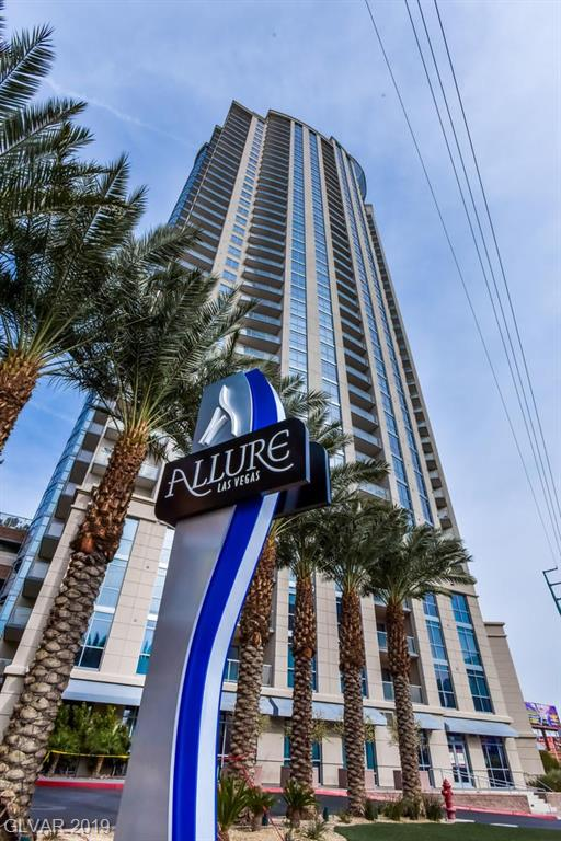 STRIP VIEW from this beautiful 1bedroom condo at Allure. Las Vegas Luxury living at its finest with resort style amenities.  24hr security, pool, gym, outdoor kitchen and fire pit, business center and conference room, valet and concierge. Walking distance to Casinos, restaurants, entertainment and shopping. New floors, stainless appliances and granite counters.