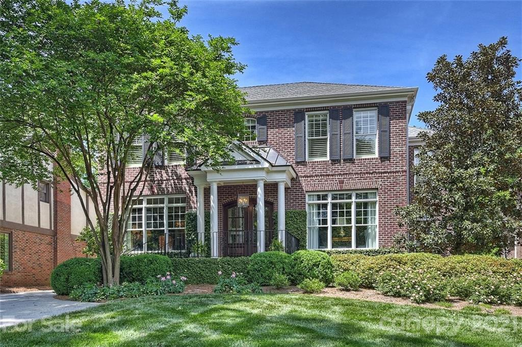 Myers Park stately brick home with over 5000 sf of living space on a beautiful .39 acre level lot. Gracious foyer with 10 ft. ceilings, exquisite moldings, hardwood floors and two wide stair-cases. Open floorplan, chef's kitchen with Wolf stove, Sub-Zero refrigerator, walk in pantry, butler's pantry, large breakfast space opening to an enclosed outdoor patio with brick fireplace and adjoining family room with fireplace. Excellent floorplan for entertaining. Luxury main floor owner's suite with sitting room, custom his & her walk-in closets and spa like bathroom retreat. Main front staircase provides access to three additional bedrooms with ensuite baths and bonus room. Rear staircase provides private access to two bedrooms and one bath with wonderful flex space options for in-law suite, nanny suite or private office. Professionally landscaped, stone terrace wall, patio and large fenced in back yard large enough for pool. Minutes walking to shopping, dining, parks, and k-12 schools.