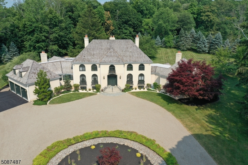 Stunning and gracious estate on one of the most prestigious location of Bernardsville Mountain. The fine architectural design with European flair gives abundance of space for entertaining and everyday living. Surrounded by walls of windows the elegant 2 story LR offers panoramic views of stone terrace and manicured  grounds beyond. Highlights include chefs kitchen w/ expansive center island, sunny breakfast nook, FR w/ high ceiling and tall windows, gas FP, First floor Master suite with unique bathroom design and 3 custom walk-in closets, expansive Foyer w/ swiping stairs, wrought iron banister. Loft overlooking living area, 4 BR and bonus room completes the second level. Finished lover level provides multi-functional space including bar area, full bath and ample storage space. Full house generator.