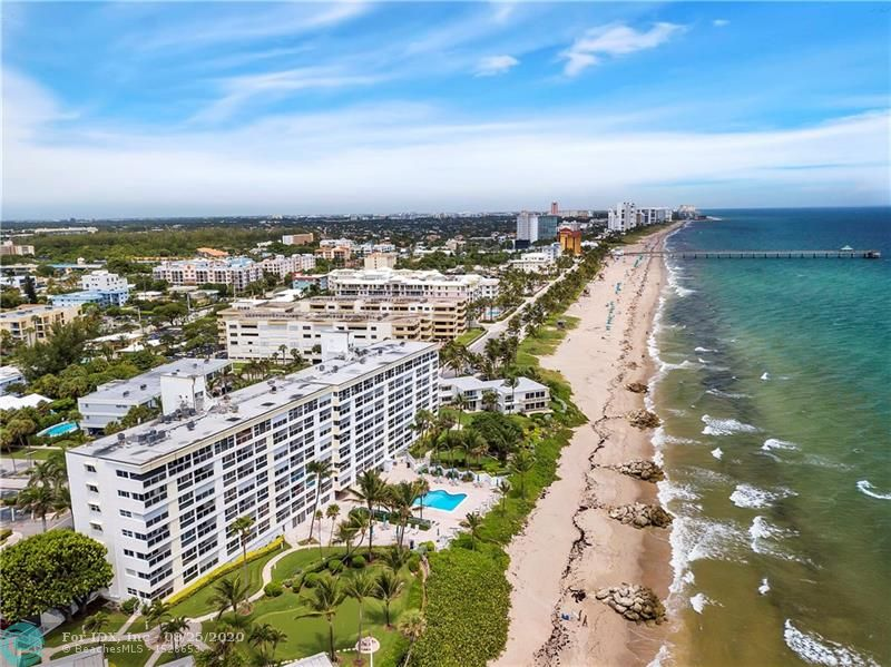 This property is a dream location on the beach, spectacular direct ocean view, short walk to restaurants and shops and the Deerfield fishing pier, impact windows and slider to open private balcony, beautifully maintained gardens with ocean side putting green, gated, many amenities.
