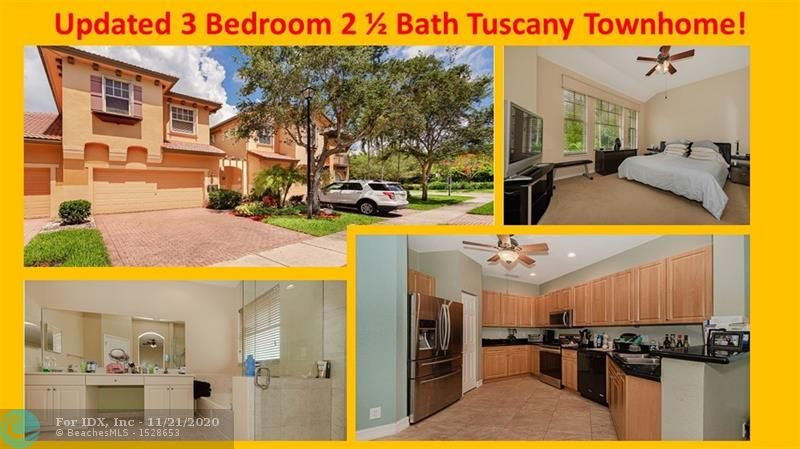 Rare Find! Updated 3 Bedroom 2 1/2 Bath 2 Car Garage Town Home In The Prestigious Guard Gated Community Of Heron Bay/Tuscany, With Over 2,000sqft of Living Area. Town Home Features Updated Kitchen With Newer Stainless Steel Appliances, Charming Court Yard Entrance, Private Screened In Patio, Volume Ceilings, Large Loft, & Upstairs Laundry Room With Newer Washer & Dryer. Upstairs Master Suite Overlooks The Community Pool & Lush Landscaped Backyard. One Of Two Town Homes With This Gorgeous Pool View. Master Bathroom With Roman Tub, Shower & Dual Sinks.  Accordion Shutters & Panels Throughout. Enjoy The Many Resort Style Amenities This Community Has To Offer, Which Include Two Clubhouses, Tennis Court, Gym, Playground & Much More! Located In A-Rated Parkland School District. A Must See!
