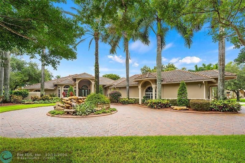 Nestled in one of south Florida's most sought after communities & on a magnificent corner lot is this beautiful estate! Upon entry via dramatic double glass doors, grand living areas are revealed! Floor to ceiling glass doors & windows, soaring ceilings, marble floors & an indoor/outdoor living design! Large island kitchen with beautiful cabinetry & clear glass subzero refrigerator! Large family room with fireplace! Beautifully appointed master suite with sitting area & fireplace, Jaw dropping closets with cabinetry, marble top vanities & shoe carousel! Splendid master bath with water closets, his & her vanity, spa tub & large shower. Children's wing with bonus room! Expansive screened porch with a huge tropical pool, spa, waterfalls, water features, slide & tiki bar! Perfectly maintained!