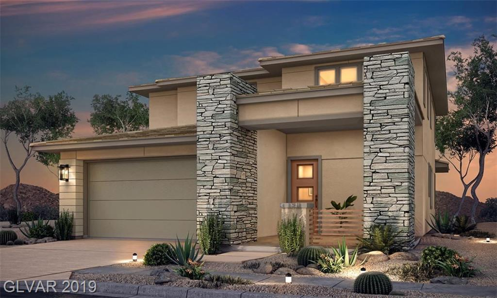 Brand New Home in Stonebridge in Summerlin! Master Bedroom is downstairs. All bedrooms have a walk in closet.Contemporary style home, Beautiful kitchen /painted Portobello cabinets & Quartz-Carrara Veil Kitchen countertops, deck from a huge bonus room located across from red rocks & city, home backs a hiking trail with view fence. Front & back outdoor living. A Must See!