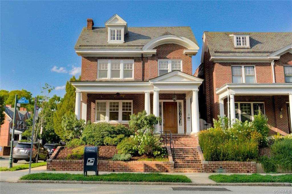 """Don't miss your opportunity to own this elegant and stately brick colonial home  - on a corner lot in the Museum District - one Richmond's most sought after neighborhoods – over 4000 Sq Feet featuring a grand entrance with fantastic natural light throughout the formal first floor with a formal living room with wood burning fireplace, dining room and windowed sunroom off the kitchen for eating in. Ascending the front formal or rear stairwell the second floor provides 3 bedrooms and two full baths– including a quiet master bedroom with grand master bath with jetted soaking tub and large seated tile shower, a small balcony porch over looking the back yard.  Spiral stairs to the upper level loft (25 x 12) could easily be a fourth bedroom.  A finished basement with built-ins and a full shower bath is great for a casual family room, media room, play room for children or another bedroom.  For your outdoor activities the front porch is one of the finest """"sitting"""" porches in Richmond the landscaped rear yard and deck is perfect for entertaining.  The home is completed by a spacious 2-car garage with electricity and is just steps from the VMFA & Carytown, and the Fan shops and restaurants."""
