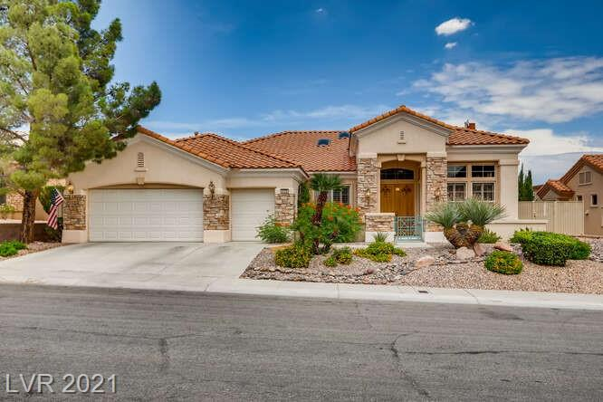 SINGLE STORY HOME LOCATED IN THE AGE RESTRICTED COMMUNITY IN SUN CITY SUMMERLIN*SUPER UPGRADED AND TOTAL PRIDE OF OWNERSHIP* REMODELED KITCHEN WITH NEW CABINETS, GRANITE COUNTER TOP, LARGE ISLAND, STAINLESS STEEL APPLIANCES REPLACED IN 2019 AND B/I MICROWAVE DRAWER*PLANK TILE FLOOR THROUGHOUT *2 BEDROOMS PLUS AN OFFFICE/ DEN ALL WITH CEILING FANS*BOTH BEDROOMS HAVE BATHROOM PERFECT FOR GUESTS*FAMILY ROOM WITH WITH COZY FIREPLACE AND FAN*PAINTED AND NEW UPGRADED BASEBOARDS THROUGHOUT*MASTER BATH REMODELED WITH CUSTOM TUB AND TILE WORK*LARGE SITTING ROOM IN MASTER*BREATHTAKING VIEWS OF MOUNTAINS AND CITY*EXTENDED COVERED PATIO WITH 2 FANS*BUILT IN SPA WITH TRAVERTINE AND SPLII FACE STONE FINISH*OVERSIZED 3 CAR GARAGE WITH LARGE UTILITY SINK, STORAGE CABINETS, AND OVERHEAD STORAGE*SUN CITY SUMMERLIN IS YOUR PERSONAL RESORT WITH  POOL/SPA, FITNESS CENTER, TENNIS COURTS, GOLF, AND MORE!