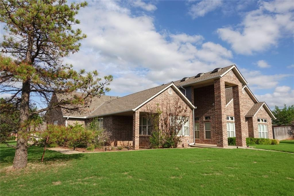 Sprawling 3,141sq ft home, on a corner lot in Gated Edmond community! Custom built home in 2001 by Pape Construction (developer of Brasswood) 3 bedrooms plus an office, 2.5 bathrooms - One of which is a US Government certified storm room / safe room with reinforced doors (fully certified to withstand 700 mph winds) Galley kitchen (double ovens; 14000 BTU burners, grill and griddle commercial stove and hood) so many extras - a must see!  .5 acre lot w/ 2 Austrian pines, 1 Australian pine; 15000 sq ft yard (tiff bermuda)