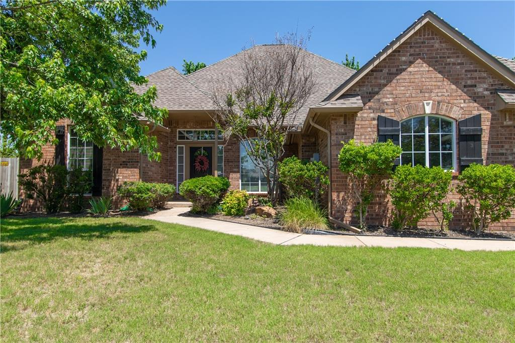 Wonderful Family home located close to schools & shopping. Large lot with inground Salt Water Pool w/Child Safety Fence, Firepit & storage building. Master suite is private with its own fireplace also has Child Safety Fence & access to backyard. Large family room has vaulted ceiling, fireplace & open to kitchen & dining area. Formal living & formal dining room at entry plus private study or craft room. Spacious 3 car garage has inground storm shelter with room for 12. Family room wired for Movie/TV Surround Sound w/Speakers. Master Bedroom & Master Bath wired for Surround Sound  w/speaker, Patio speakers wired to Master Bedroom system.  Well maintained & move in ready