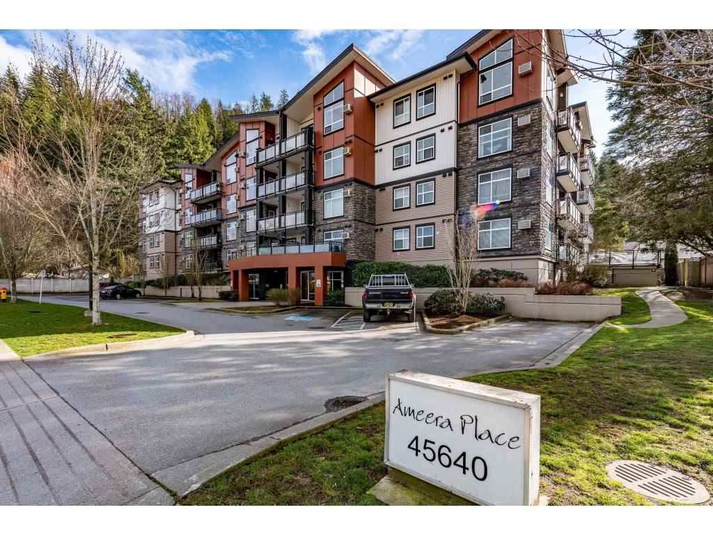 Attention Investors and First Time Buyers! Ameera Place features this functional 3rd floor 2 Bedroom and 2 Bathroom + Den with 1,070 SQ Ft of living space located on the quiet side of the complex backing onto the Mountains! Laminate in the main living space with the carpets in the bedrooms, full sized kitchen with S/S appliances and granite countertops, open concept floor plan with electric fireplace in living room and AC, 2 inch blinds, a balcony for your morning coffees, in suite storage and much more. Located in Sardis minutes away from schools, Garrison Crossing, UFV, Vedder river, shopping, restaurants, and more. Cultas Lake and Promontory are also a short drive away. Rentals fully allowed and one pet allowed with restrictions. One parking spot underground. Low monthly strata of $258.