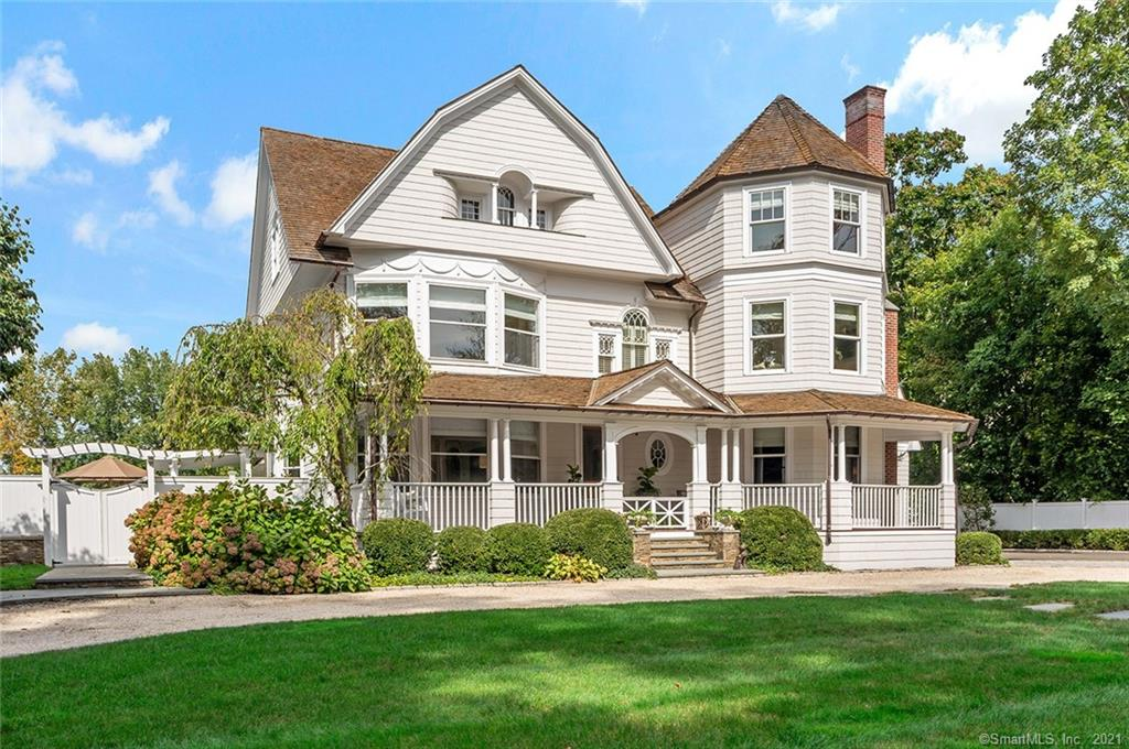 Originally built in 1904, this gracious Prime Southport Victorian was completely expanded and restored to perfection by the current owners.  Spacious rooms, high ceilings, large windows, and multiple fireplaces make this home shine with elegance.  An Eat-In-Kitchen with a step down Family Room both lead to outdoor entertaining by the salt water pool with grill and fireplace, extending your family space.  There are 4 floors. The Lower Level is complete with Wine Cellar, Gym, game area, full Bath, and Basketball Court! The 1st and 2nd floor family spaces include large Living Room, Study, Dining Room, 2 Mudrooms, 3 Full and 2 Half Baths, 4-5 Bedrooms, and laundry.  The 3rd floor is complete with Office, Bedroom, lounge area, Full Bath and access to a large deck.  The Bonus Room over the attached garage is perfect for guests or a possible In-law.  All set on an oversized lot with gardens, shed and a sweeping lawn.  Nature at its best.