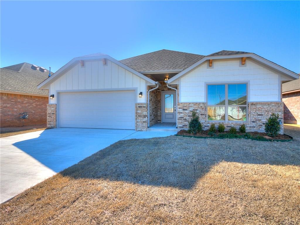 This home is a 3 bed, 2 bath, 2 car garage! This open concept home features soft close cabinet doors, full extension drawers, shaker style cabinets, designer lighting fixtures, raised vanities in bathrooms, bull nose corners in main living areas, whirlpool tub in master bath, covered back patio, Mustang school district and more! Ask about our incentives up to $3000!