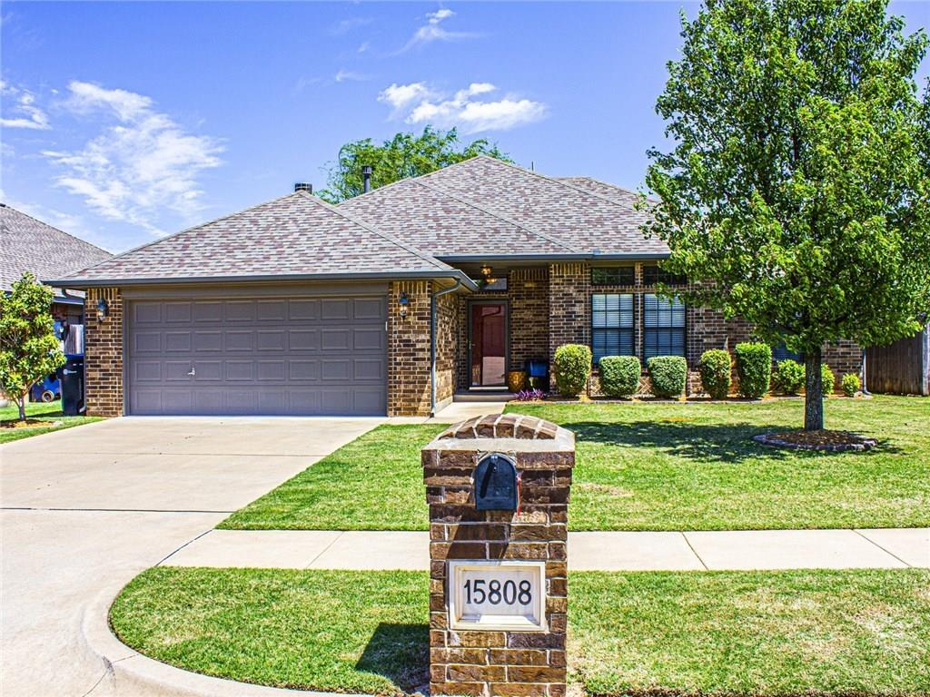 "Super cute and well maintained one-owner home! Open floor plan with high ceilings. Large family room with fan and fireplace w/gas logs. Open kitchen with granite, pantry and stainless steel appliances. Spacious master bedroom with vaulted ceiling, 2"" blinds and fan. Master bath features 2 sinks, wrap around walk-in closet, shower and whirlpool tub. 2nd bedroom with 2"" blinds and fan. Hall bath with tub. 3rd bed with 2"" blinds currently used as home office. Roof replaced in 2013! OKC utilities and Edmond Schools! Sprinkler front and back! Security system.