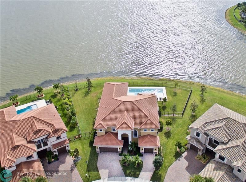 GORGEOUS ESTATE HOME W/ 6 BEDS, 6.5 BATHS & 3 CAR GARAGE IN MINT CONDITION W/ POOL & ENDLESS WATER VIEWS! HUGE PIE SHAPED LOT ON CUL-DE-SAC IS FULLY FENCED. 2 MASTER BEDROOMS W/ 1 UP & 1 DOWNSTAIRS. GOURMET KITCHEN W/ STAINLESS APPLIANCES, WHITE CABINETS & QUARTZ COUNTER TOPS OVERLOOKS SPACIOUS FAMILY ROOM. AMAZING PANORAMIC LAKE VIEWS FROM THE ENTIRE HOUSE INCLUDING RESORT STYLE POOL W/ MARBLE PAVERS & OVERSIZE PATIO W/ COVERED AREA. ALL IMPACT GLASS WINDOWS & DOORS. STUNNING WOOD FLOORS, MOULDING & DECORATOR TOUCHES THROUGHOUT, WALK IN CLOSETS. EACH BEDROOM HAS ITS OWN BATHROOM! HOA FEES FOR MIRA LAGO INCLUDE FRONT & BACK YARD LAWN CARE, COMMUNITY POOL, CLUBHOUSE, GYM, BILLIARDS, KIDS CENTER, SAUNA, SECURITY & MORE! BEST VIEWS IN THE NEIGHBORHOOD & A MUST SEE!