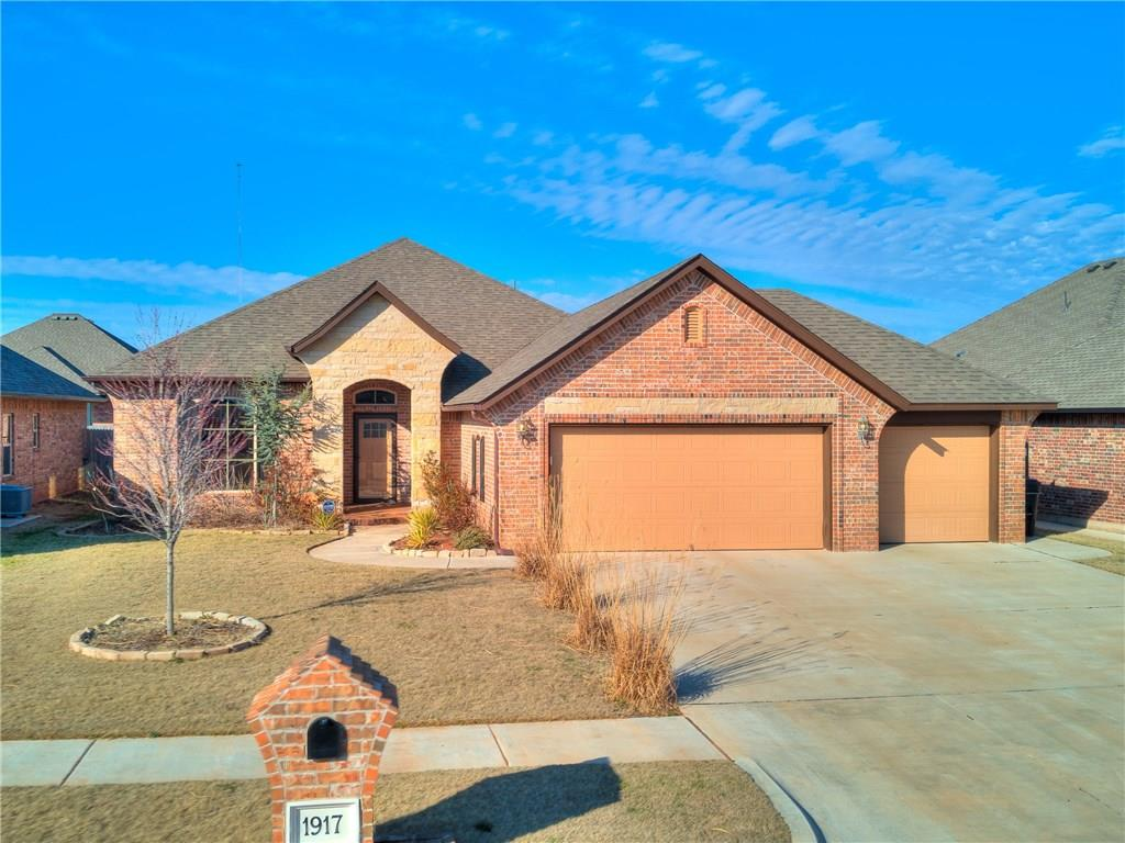 Highly customized & darling home in Moore w/quick access to I-240 &/or I-35!Practically brand new home built by Mashburn Faires Homes in 2016. 3 bed, 2 full bath and spacious Study withtransferable 10 year warranty by QBW.Openfloor planflow with wood floor in living room and a stacked stone fireplace!The thoughtfully designed kitchen boasts granite counter tops, stainless appliances, gas cook-top, and plenty of cabinet space with walk in pantry.Master suite shines w/ dual sinks, soaking tub and walk in shower with huge closet. Fully functional Sun room is well built by the builder and it is NOT included ins/f. The backyard has extended patio with Pergola and beautiful garden. Durable epoxy floor on 3 car garagewithSTORM SHELTER, 3rd car garage thru out to side yard.