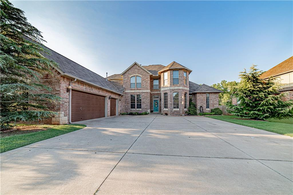 Stunning 4 Bd, 3.5 Ba, featuring 3916sf, w/3 car garage & storm shelter. Mustang Schools! Just minutes from Mustang shopping, outlet mall, restaurants & entertainment.  Easy access to Highway OK-152W, I-40, I-44, John Kilpatrick Turnpike. This beautiful home features bullnose corners, Fireplace, formal dining room w/ hutch & buffet area, & study. The kitchen boasts w/ lots of space, stainless steel appliances, granite countertops, butlers pantry, breakfast bar & nook making the space perfect for entertaining! Split bedroom design with the master downstairs & 3 bedrooms upstairs.  Spacious master w/ tray ceiling, en suite w/ oversized Jacuzzi tub, travertine tile, granite countertops, & his & hers walk-in closets. Enjoy a large covered back patio,  outdoor kitchen w/ granite countertop, huge back yard that backs up to a tranquil 10-acre greenbelt w/ gated access.