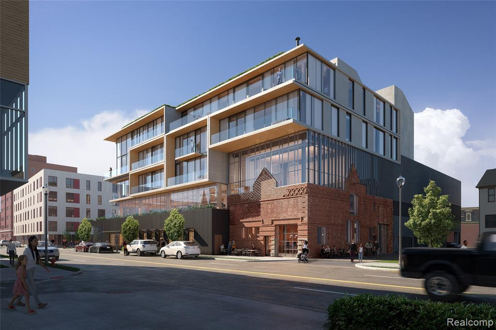 """Positioned at the corner of Alfred and John R, in Detroit's historic Brush Park neighborhood, CODA is an innovative, newly constructed development, featuring ten boutique residential condominiums, a two-level restaurant, and a dedicated commercial office space and parking structure. Designed by OOMBRA Architects, from Philadelphia, CODA's contemporary design is intended to become the new landmark of Brush Park. The glass and timber building, plus the new townhomes, are a strong counterpoint to the restored, historic façade. Eight exclusive condominium residences, surrounded by full height windows and amazing views, designed within an ultra-modern, engineered mass timber structure. Located on the top floor of the striking new structure soaring above the restaurant and historic Carriage House, and nicknamed """"superflat"""" by the architect, this unit has its own private elevator access and expansive rooftop terrace."""
