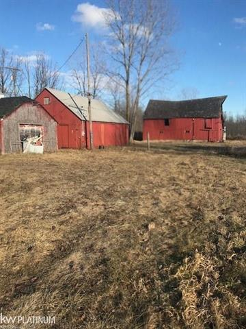 """GREAT 11 ACRES  WITH 545 FT OF FRONTAGE,  CHECK OUT THE """"BARNS & OUT BUILDINGS,"""" """" WELL""""  ALREADY IN.. EAST CHINA SCHOOLS ,PAVED STREET,  SHOPPING AND ST CLAIR RIVER CLOSE BY. TERRIFIC PROPERTY TO BUILD YOUR FAMILY  HOME. SELLER WILL REMOVE BARN THAT WAS DAMAGED BY HIGH WINDS, UNLESS BUYER WOULD LIKE THE WOOD."""