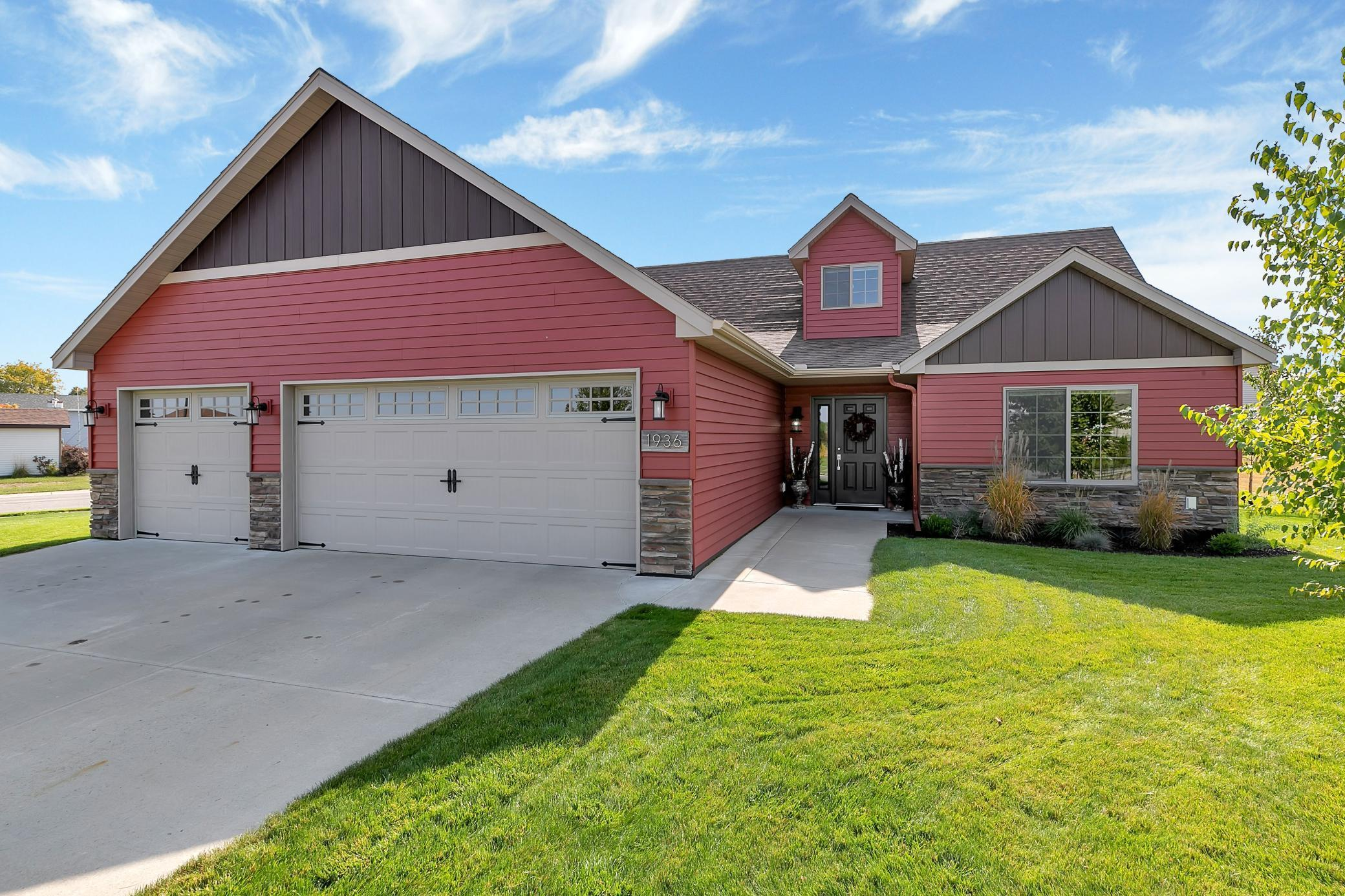 1.5 Story Patio Home Awaits! Kitchen offers Maples cabinets,  pantry w/pull outs, granite counters, beautiful back splash, above cabinets lights, soft close doors & drawers, stainless steel kitchen appliances. Large center Island w/ample storage, knock down ceiling.  Dining room w/patio door leads to patio and fenced backyard. Living room offers beautiful bricked gas fireplace and mantel.  Main floor master bedroom with chandelier, WIC, full bath and ceramic tiled floors. Laundry room w/stackable washer & dryer, cubbies and sink. Half bath powder room. Main floor den, beautiful maple floors. Upstairs loft , 2 great size bedrooms, WIC, 3/4 shower. Maple finishing's & floors, ceramic tile floors. Insulated & heated garage w/pull down ladder for extra storage. Steel siding, 200 Amp, CA, 24x30 garage w/concrete driveway. On corner lot and NO association fees! Patio home plus 2 bedroom, 3/4 bath and loft upstairs!