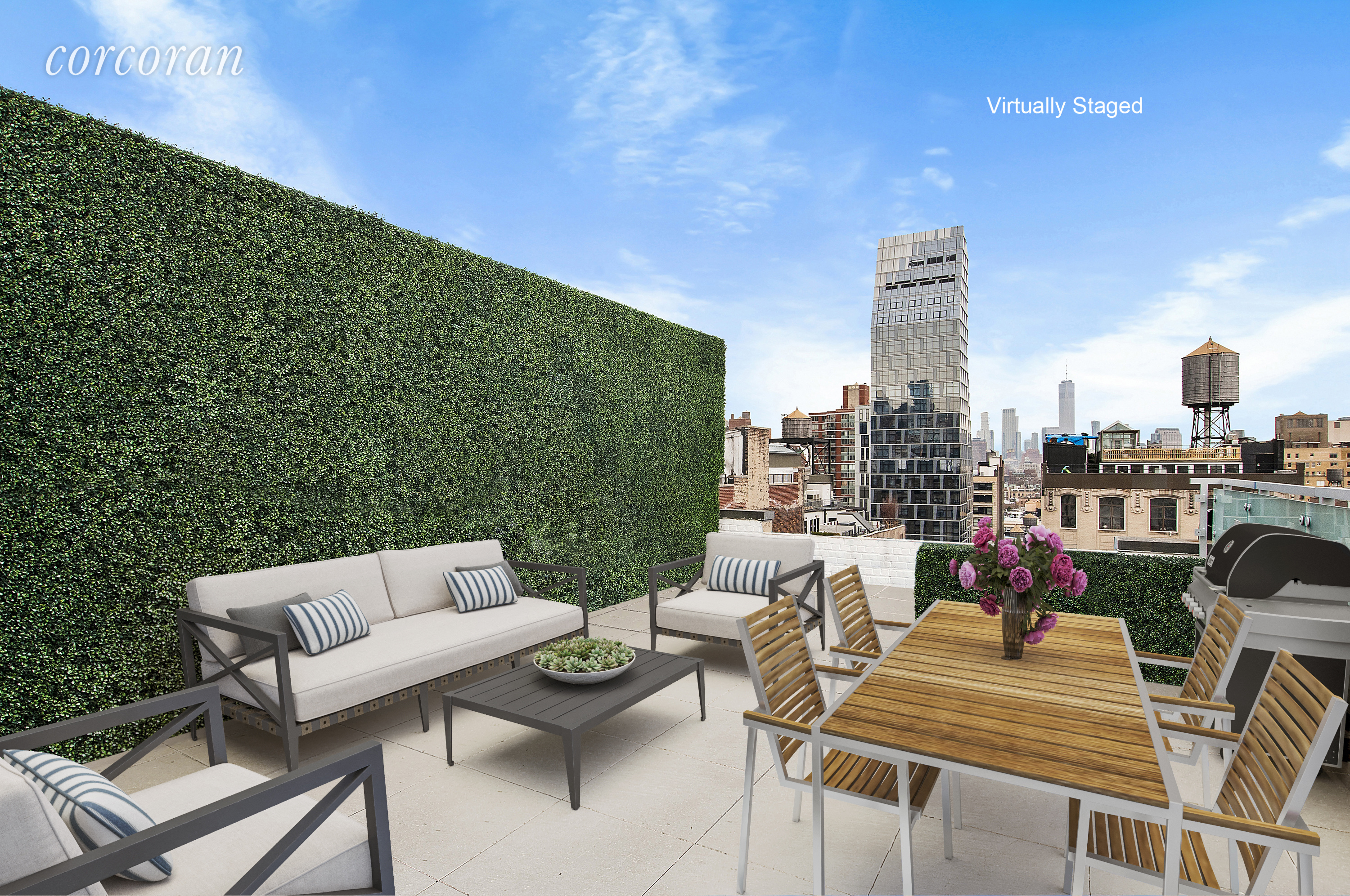TWO perfect and exclusive SOUTH FACING SUNLIT OUTDOOR PENTHOUSE TERRACES with open skies above.  Step out, mask free into the skies above Flatiron with endless views across the city.  Immense, full floor loft that feels like an intimate townhouse.  Perched as a penthouse upon an intimate condominium at the nexus of Chelsea/Flatiron and Union Square.  Customize the 6,733 square feet to perfectly suit your needs.  Currently configured as a five bedroom, five and a half bathroom home, this space is waiting for your customization.  Enjoy the luxuries of a full service boutique building with key locked elevator which enters directly into the space and realize your entertaining dreams.  Light, views, air and possibilities abound.  Contact us today for a tour of your future home.   allow freedom in NYC.Two times the fun and two times the sun, all at the amazing, unheard of price per square foot of $1,559 for a full service, boutique, condo, loft, penthouse with outdoor space! Who could ask for anything more?Laundry Room in Unit!2 Gas FireplacesRadiant Heating and Central Air ConditioningKey Locked Elevator Access and SO MUCH MORE!Also included are TWO double sized storage units in this FULL SERVICE DOORMAN BOUTIQUE CONDOMINIUMBuilding GYMLandscaped building roof deck accessible by elevator!