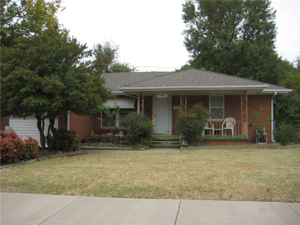"""This almost one owner brick home has been in the family for years. Come check out this """"retro"""" home with newer central heat & air.  It's located within walking distance of the OU Campus & right next to the Faculty Heights Park for your little ones to enjoy.  Wood floors should be under carpet.  Part of converted garage could easily be made into a 3rd bedroom.  Storage room under covered patio has washer & dryer, which are negotiable, along with the refrigerator & freezer.  This storage is not counted in the square footage.  Come check out this great home for 1st time buyers to bring their own touch or investors to rent out."""