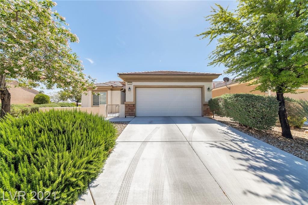 STUNNING 1-STORY HOME ON CORNER LOT * 55+ AGE-RESTRICTED *LOCATED IN SUN CITY ALIANTE COMMUNITY * 1570 SF *2 BEDS * 1 DEN/OFFICE *2 BATHS * 2-CAR GARAGE *BACKS UP TO GOLF COURSE * PVT POOL/SPA *BRIGHT, OPEN FLOORPLAN *LIVING RM OPEN TO DINING AREA & KITCHEN *KITCHEN HAS BREAKFAST BAR, GRANITE CTR TOPS, PANTRY, RECESSED LIGHTING & WHITE APPLIANCES *TILE & CARPET FLOORING THROUGHOUT *CEILING FANS & WINDOW COVERINGS IN ALL LIVING AREAS *SEP LAUNDRY RM W/ FULL-SIZE WASHER/DRYER *LG PRIMARY BEDROOM HAS OVERSIZED WALK-IN-CLOSET * PRIMARY BATH HAS DUAL SINKS, AMPLE COUNTER, DRAWER AND CABINET SPACE W/ LARGE SHOWER *2ND BEDROOM * GUEST BATH HAS TUB/SHOWER COMBO *3RD ROOM CAN BE USED AS A DEN/OFFICE * DESERT LANDSCAPING *ROVING SECURITY *COMMUNITY CTR W/ STATE-OF-THE-ART FITNESS FACILITY, INDOOR POOL, TENNIS & PICKLEBALL COURTS, AND SO MUCH MORE! ALIANTE CASINO/HOTEL .8 MI AWAY, OFFERS 16-THEATER CINEPLEX, DINING & ENTERTAINMENT * 1 MI TO 215 BELTWAY * 6 MI TO 95 FWY *25 MIN DRIVE TO LV STRIP *