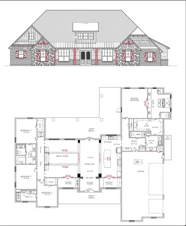 This plan is a split plan which offers 3 bedrooms and 2 full baths on one side. In fact , Bedroom 2 has its own bathroom and Bedroom 3 and 4 share a Jack and Jill bath. The master suite is a retreat with a massive, master closet that has access into the utility room for convenience. This plan also has a separate office that is conveniently and centrally located in the home as well as a humungous walk in pantry.