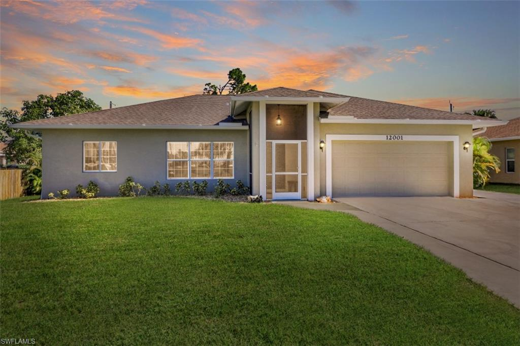 """2015 single family home on River View Dr in Bonita Springs. 9'4"""" ceilings throughout, Impact Glass Hurricane Windows and doors which means no shutters required. ATTN VIRTUAL BUYERS -ask your agent for TWO visual tour links and floor plan in supplements. This home features the classic split bedroom floor plan with the great room design. The kitchen is open to the living room and features under cabinet lighting, crown molding accentuated cabinets and granite counter tops. The master suite features 2 walk in closets, a luxurious bathroom with separated vanities, large walk in shower & separate bathtub. Neutral toned, beige tile floors though-out the living areas & bathrooms, carpets in the bedrooms. Recent updates include A separate laundry room with tub & cabinets, a pull down staircase to the attic which is boarded for storage. Over $25,000 in recent updates/upgrades that include extended parking for boat trailer or RV, extended & covered lanai with screen, added concrete bbq areas, accessory building/shed.  This home has been very well cared for & is in superb condition. No HOA fees ! Water & sewer assessments paid. Survey & elevation cert  in supplements. 15 min to gulf beaches!"""