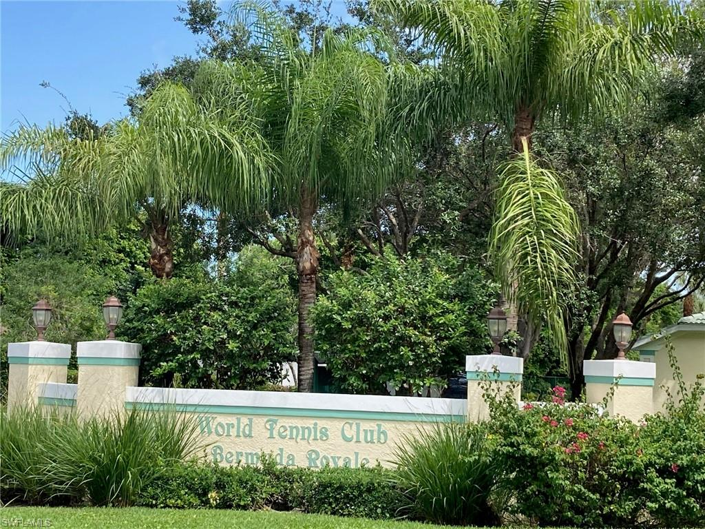 Located minutes from Naples shopping and beaches, this 2 bedroom, 2 full bath first-floor condo with detached garage is located in Bermuda Royal in World Tennis Club and offering beautifully tropically landscaped views from the screened lanai.   The Club includes 16 tennis courts, two pools, an outdoor whirlpool, a Café, a Pro Shop, locker rooms, meeting and social rooms, a common guest unit, an office building, and approximately 50 acres of irrigation and landscaping.  There are also a variety of social events in season including monthly holiday and theme parties, book clubs, water aerobics, Tai Chi, art workshops, a lecture series, and regular bridge, poker, and chess groups.  The WTC Café is a popular meeting and gathering point for the community offering daily menu specials and happy hours, socials, and monthly special events.
